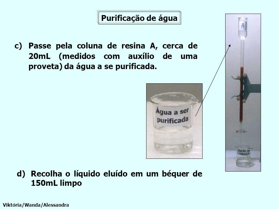 Recolha o líquido eluído em um béquer de 150mL limpo
