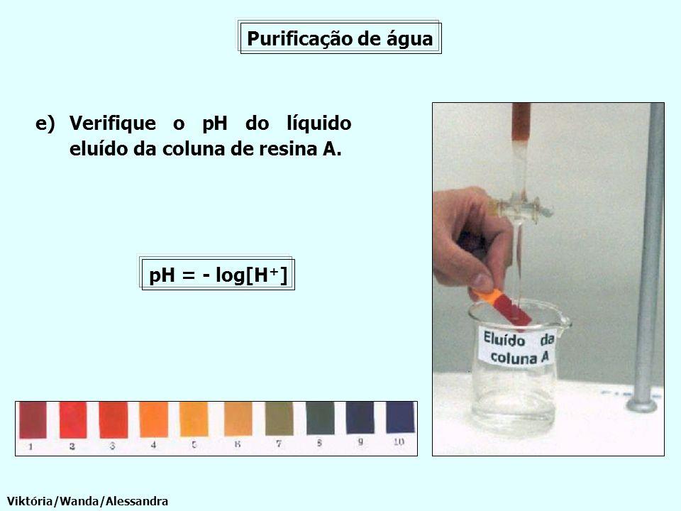 Verifique o pH do líquido eluído da coluna de resina A.