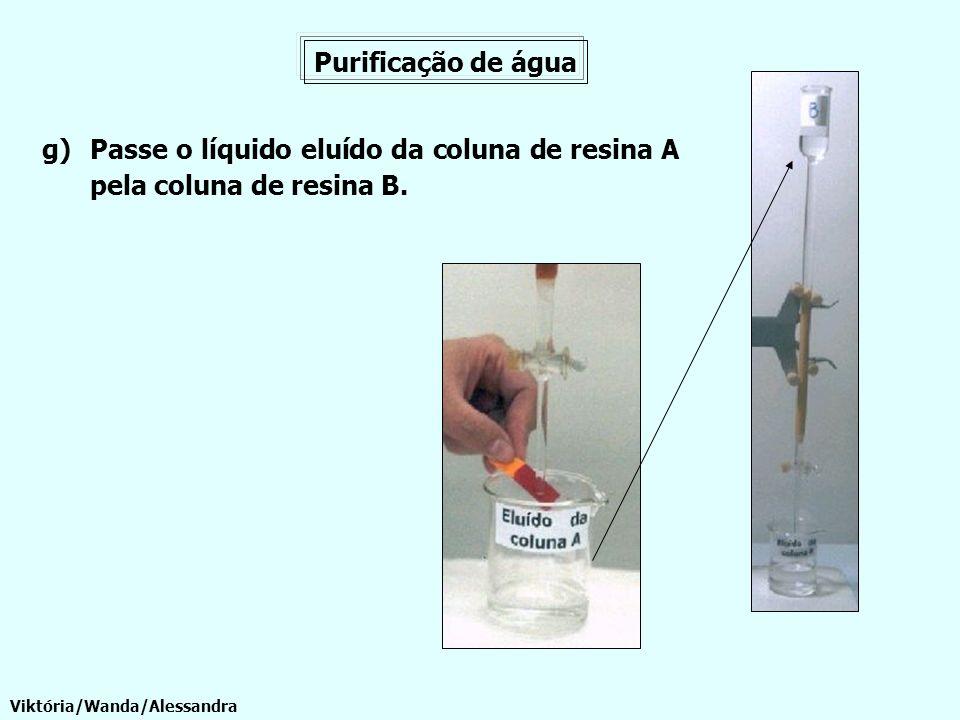 Passe o líquido eluído da coluna de resina A pela coluna de resina B.