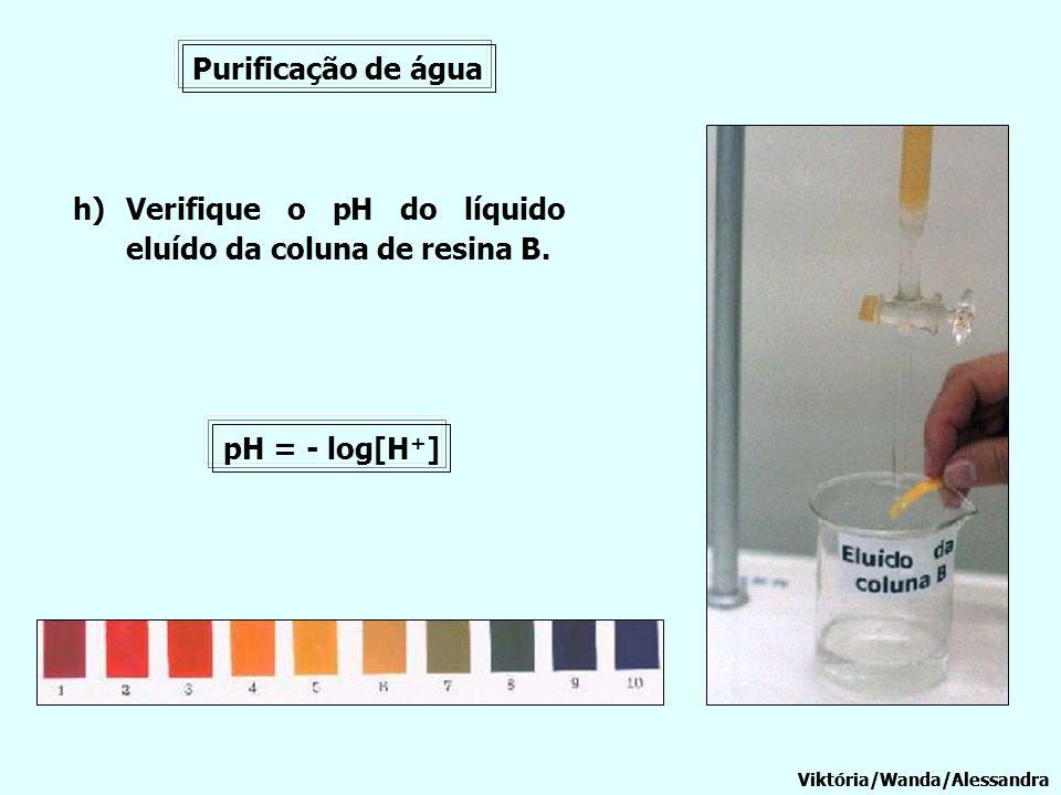 Verifique o pH do líquido eluído da coluna de resina B.
