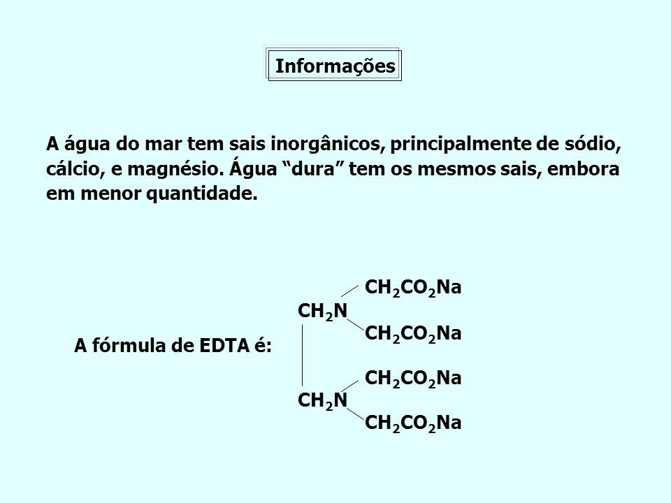 Informações A água do mar tem sais inorgânicos, principalmente de sódio, cálcio, e magnésio. Água dura tem os mesmos sais, embora.