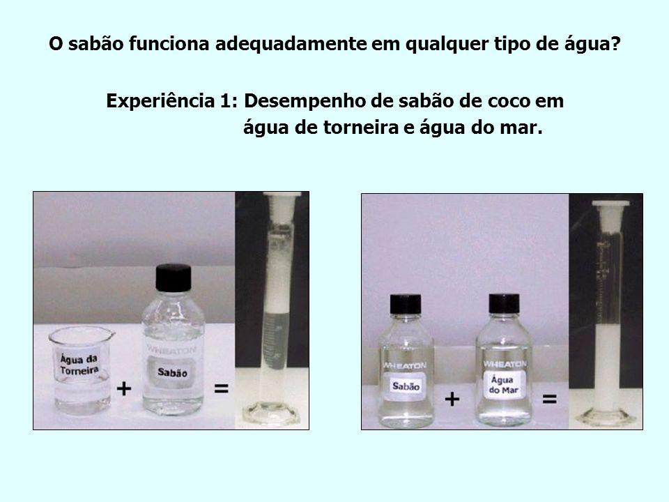 O sabão funciona adequadamente em qualquer tipo de água
