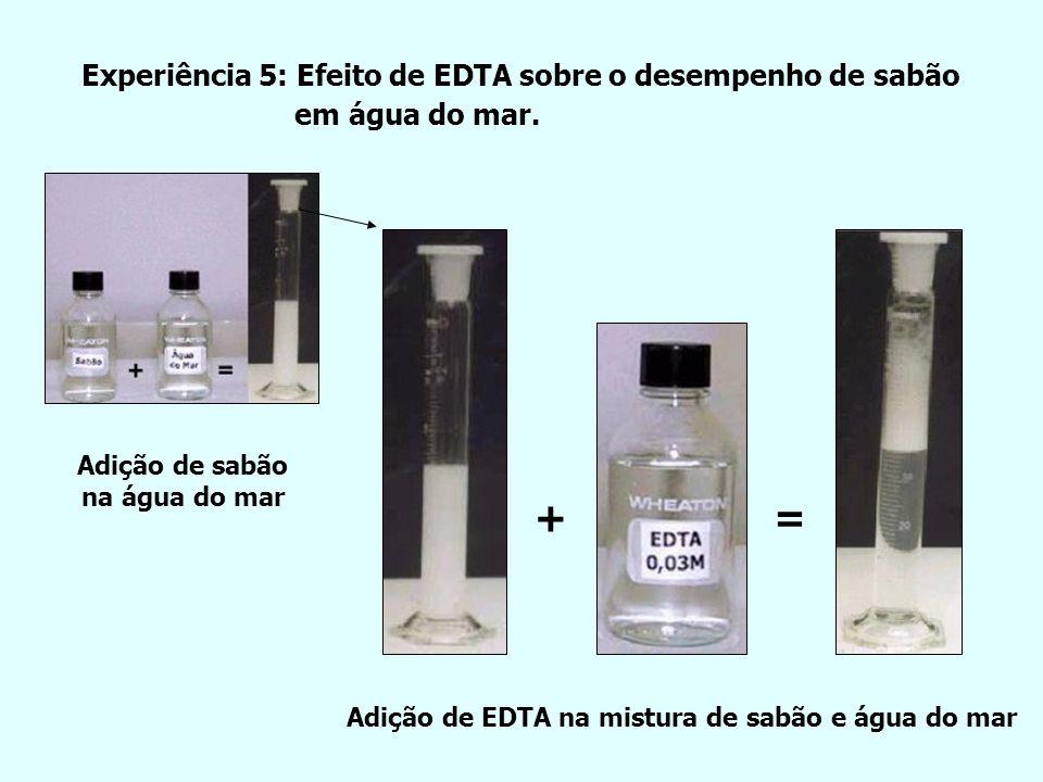 + = Experiência 5: Efeito de EDTA sobre o desempenho de sabão