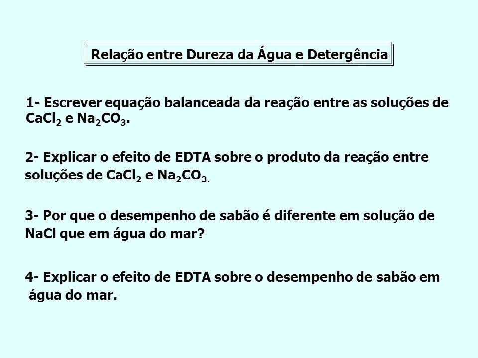 Relação entre Dureza da Água e Detergência