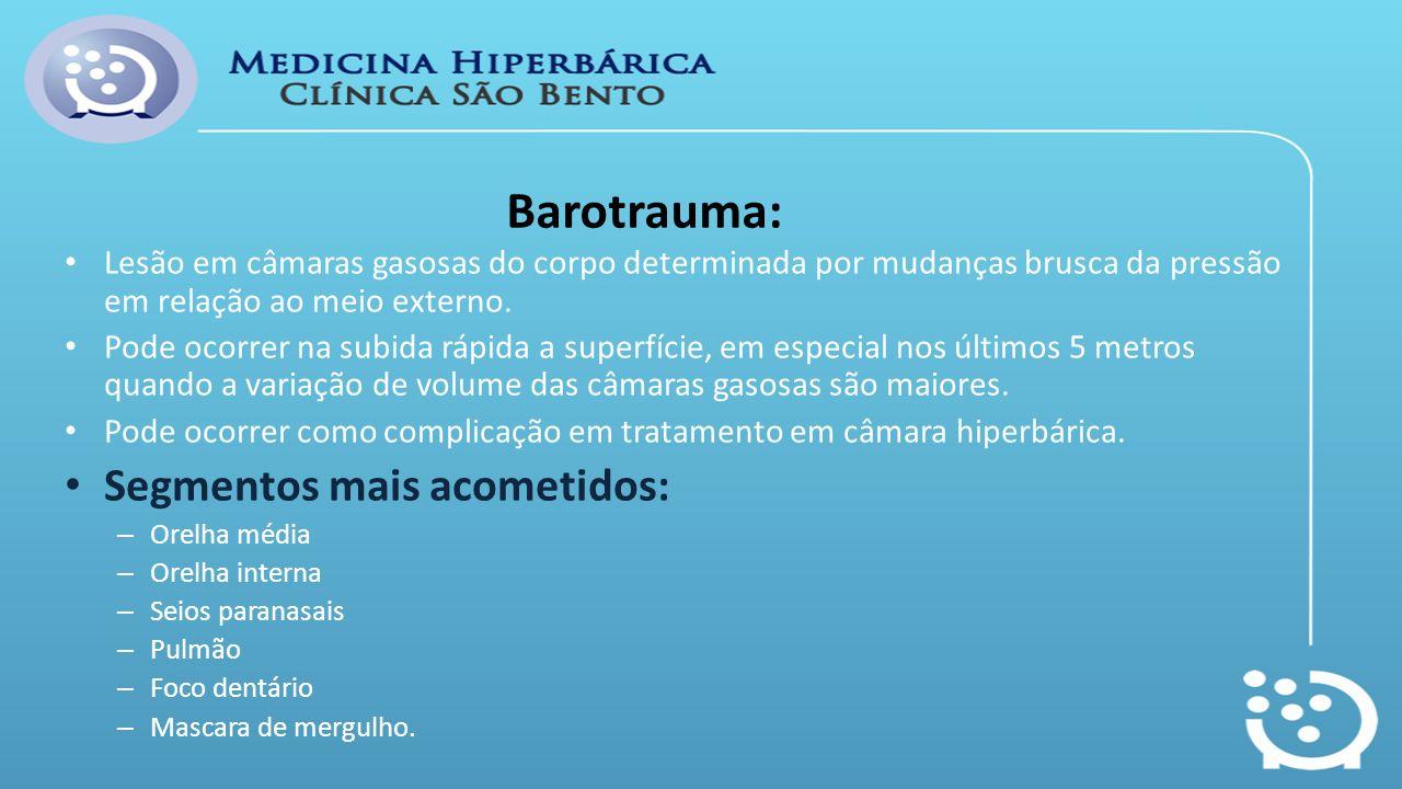 Barotrauma: Segmentos mais acometidos: