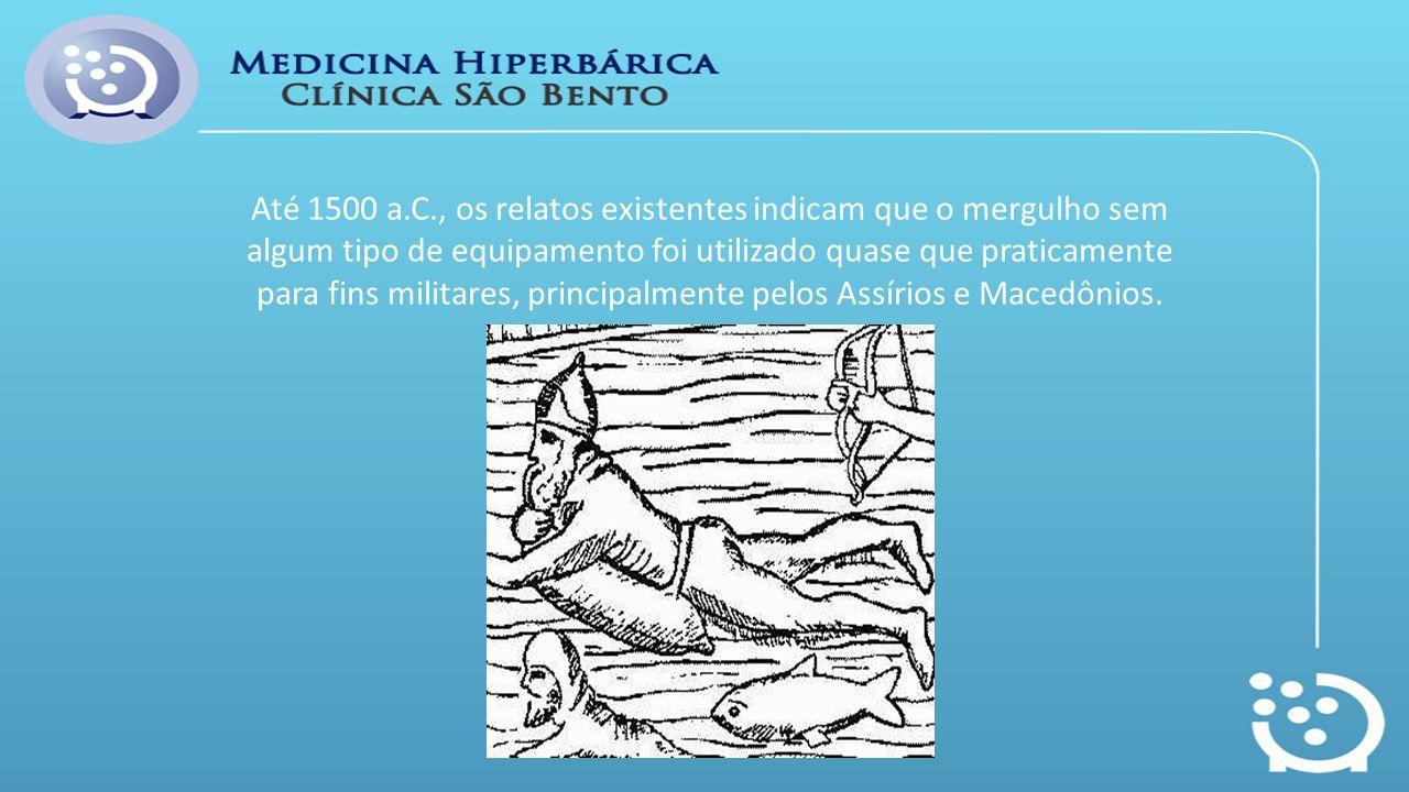 Até 1500 a.C., os relatos existentes indicam que o mergulho sem algum tipo de equipamento foi utilizado quase que praticamente para fins militares, principalmente pelos Assírios e Macedônios.