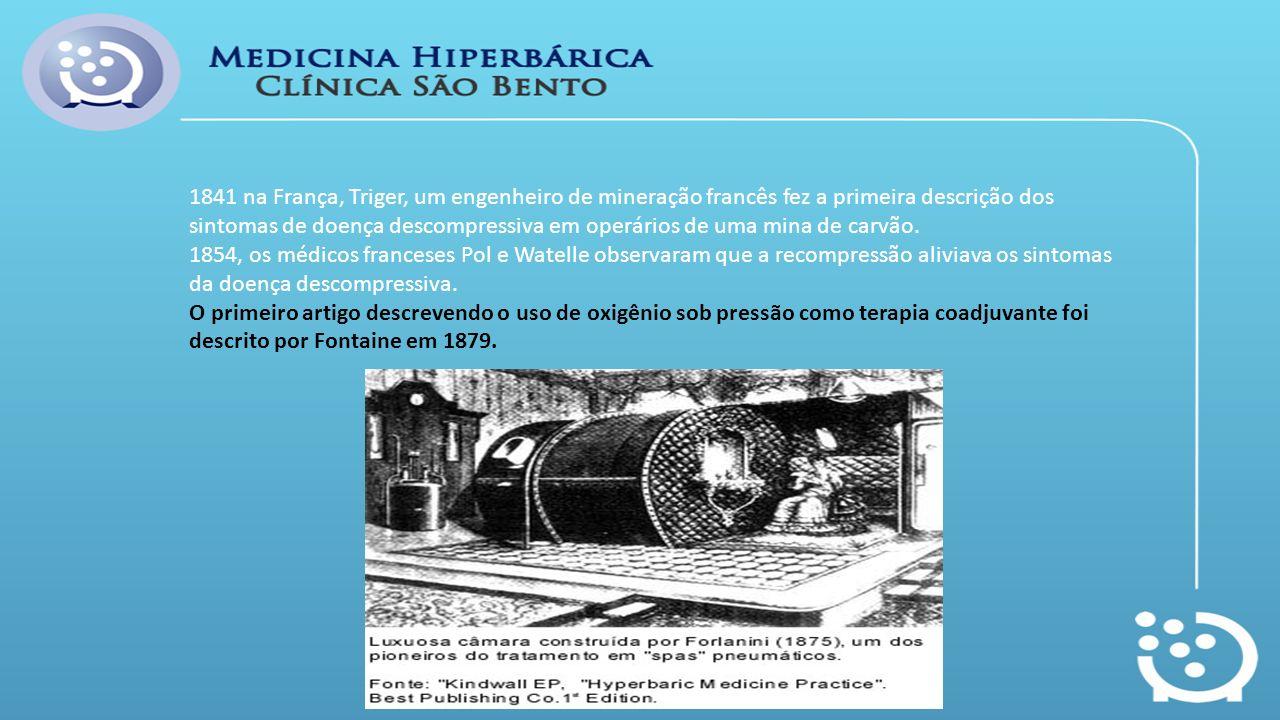 1841 na França, Triger, um engenheiro de mineração francês fez a primeira descrição dos sintomas de doença descompressiva em operários de uma mina de carvão.