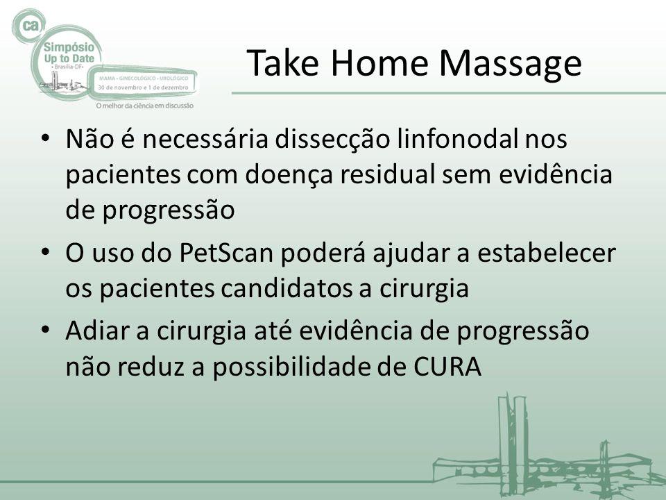 Take Home Massage Não é necessária dissecção linfonodal nos pacientes com doença residual sem evidência de progressão.