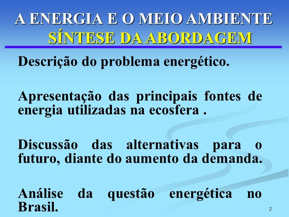 A ENERGIA E O MEIO AMBIENTE SÍNTESE DA ABORDAGEM