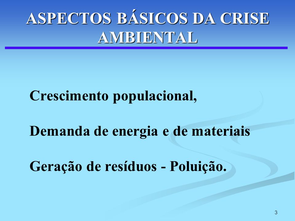 ASPECTOS BÁSICOS DA CRISE AMBIENTAL
