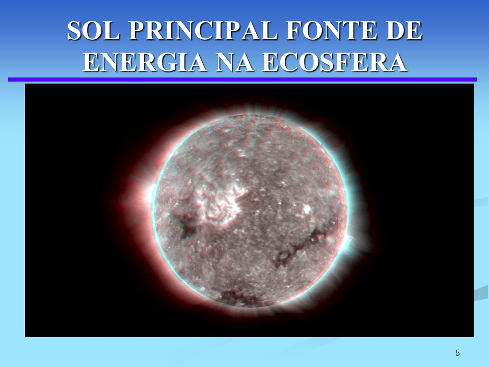 SOL PRINCIPAL FONTE DE ENERGIA NA ECOSFERA