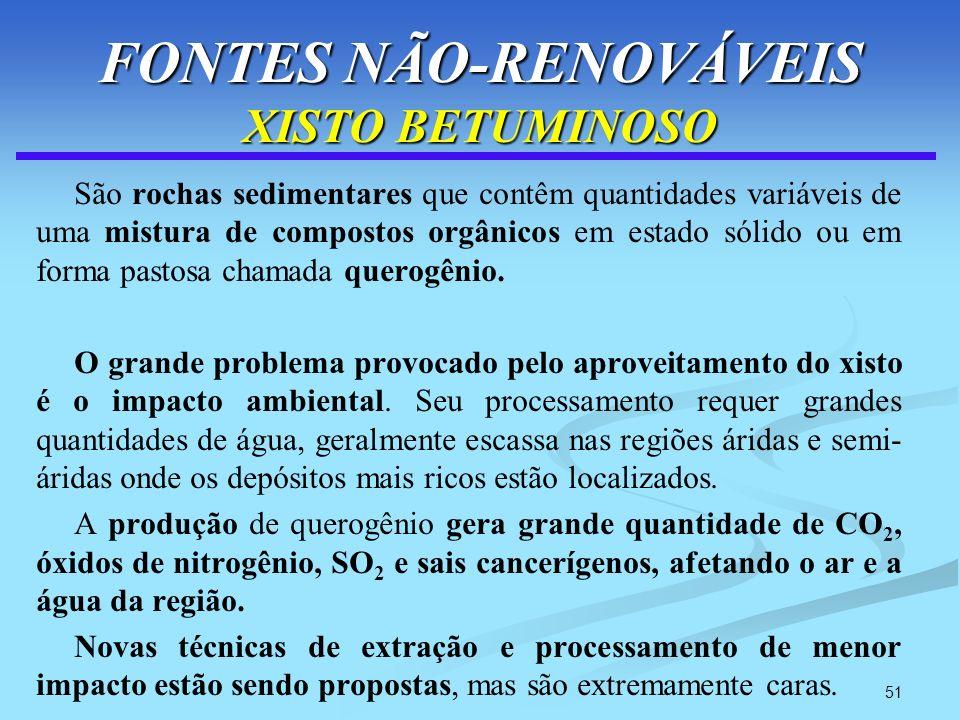 FONTES NÃO-RENOVÁVEIS XISTO BETUMINOSO