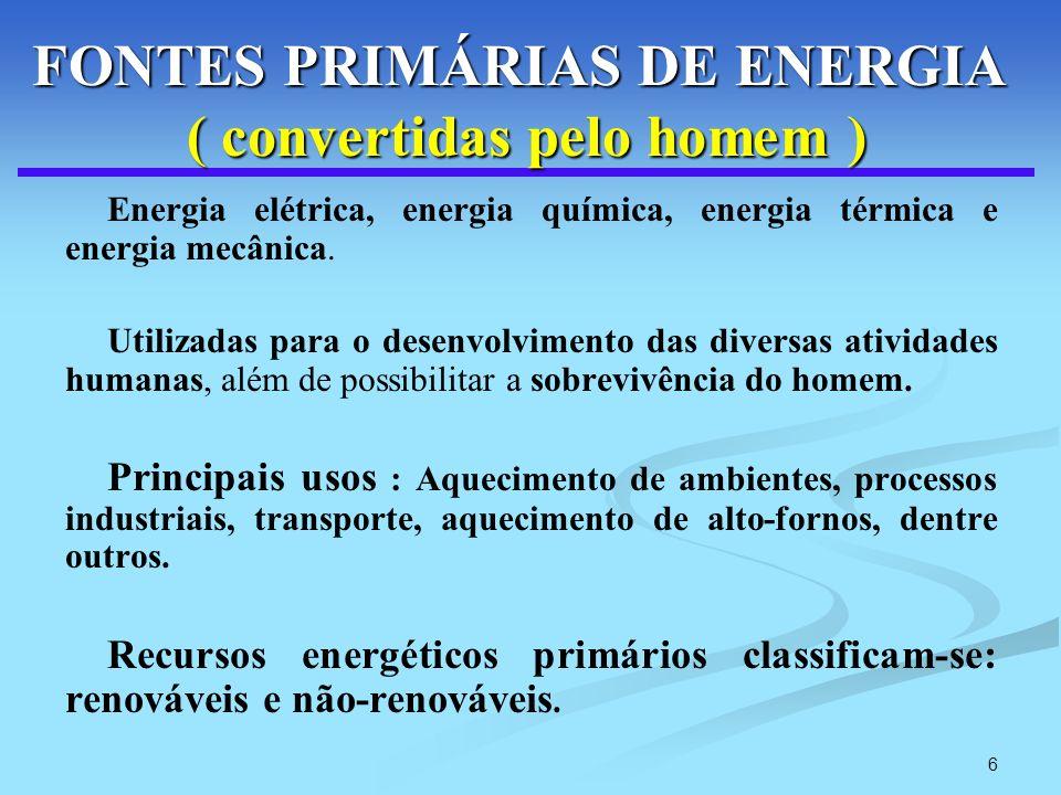 FONTES PRIMÁRIAS DE ENERGIA ( convertidas pelo homem )