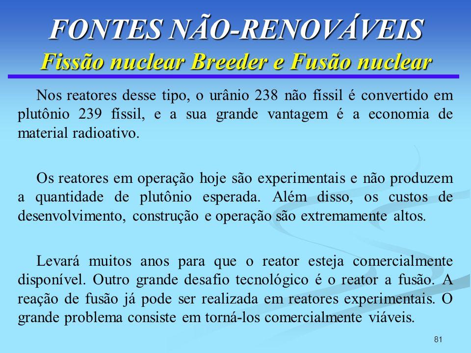 FONTES NÃO-RENOVÁVEIS Fissão nuclear Breeder e Fusão nuclear