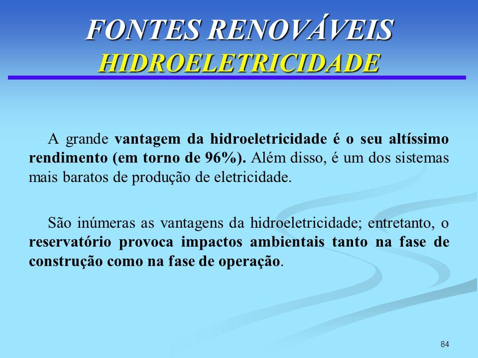 FONTES RENOVÁVEIS HIDROELETRICIDADE