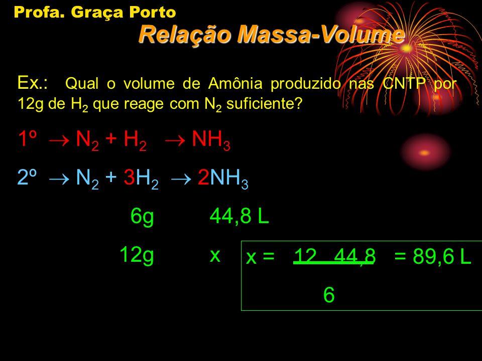 Relação Massa-Volume 1º ® N2 + H2 ® NH3 2º ® N2 + 3H2 ® 2NH3 6g 44,8 L