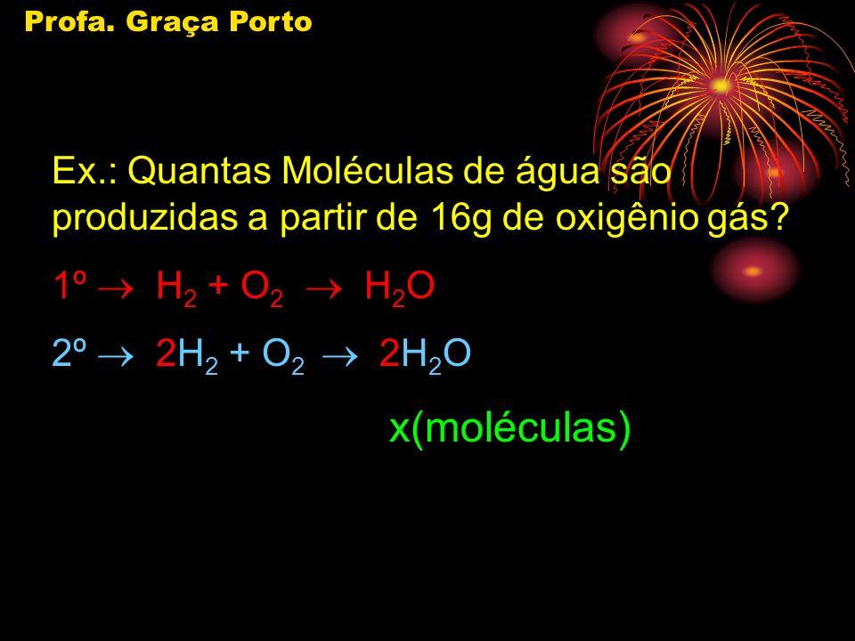 Profa. Graça Porto Ex.: Quantas Moléculas de água são produzidas a partir de 16g de oxigênio gás 1º ® H2 + O2 ® H2O.