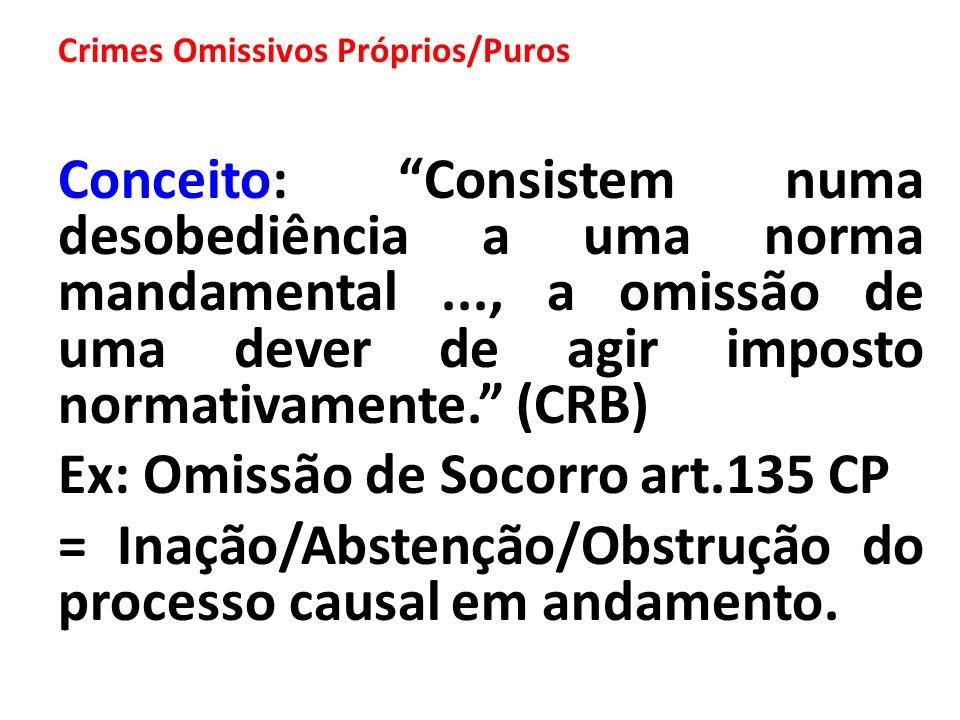 Ex: Omissão de Socorro art.135 CP