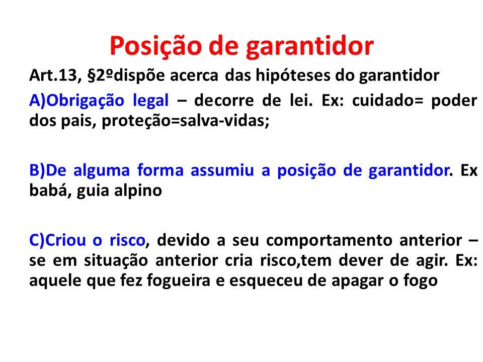 Posição de garantidor Art.13, §2ºdispõe acerca das hipóteses do garantidor.