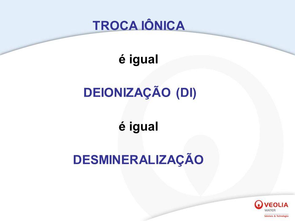 TROCA IÔNICA é igual DEIONIZAÇÃO (DI) DESMINERALIZAÇÃO