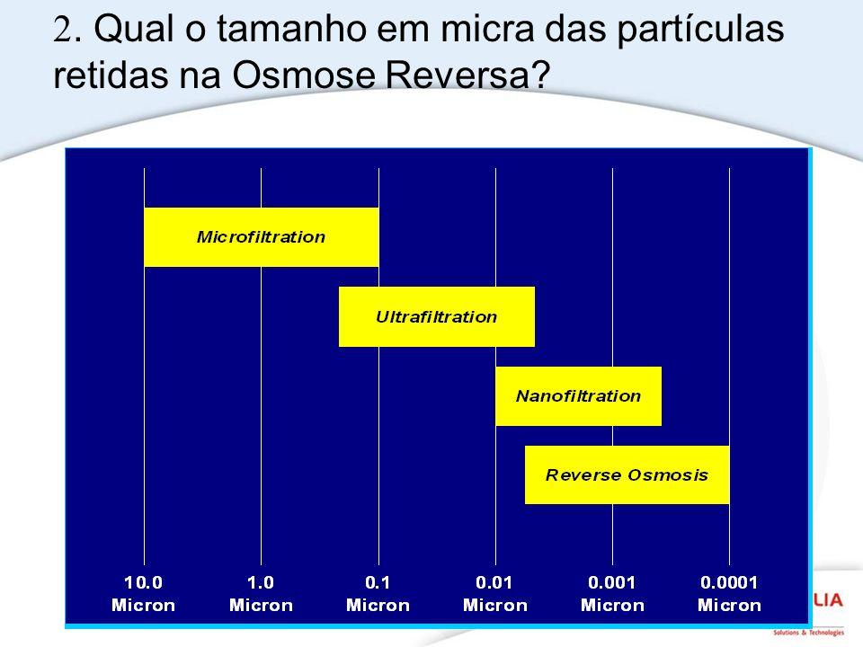 2. Qual o tamanho em micra das partículas retidas na Osmose Reversa