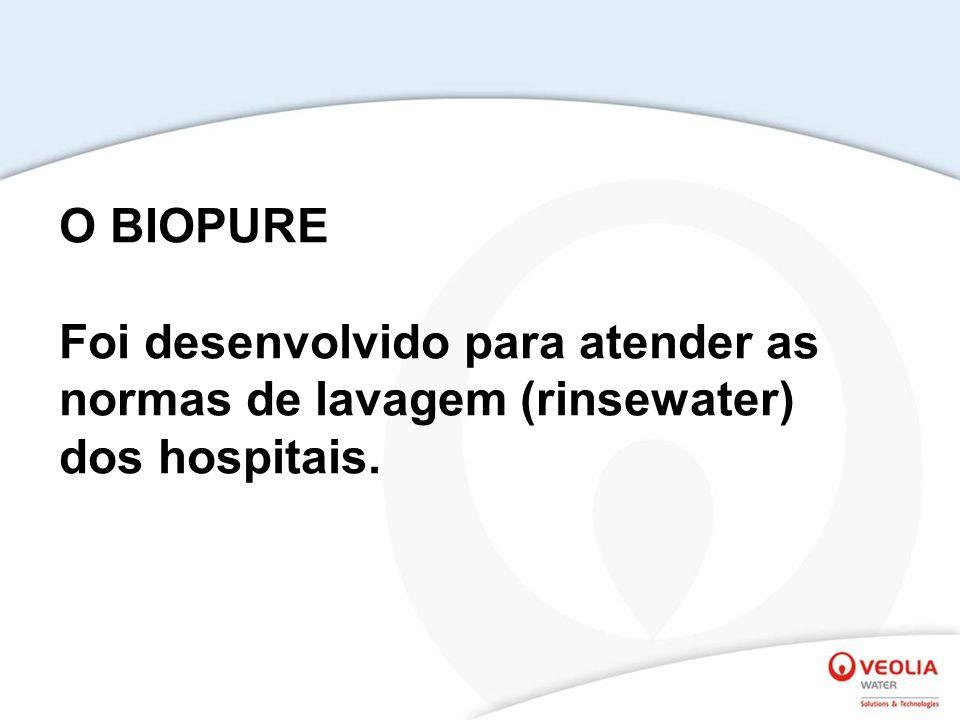 O BIOPURE Foi desenvolvido para atender as normas de lavagem (rinsewater) dos hospitais.
