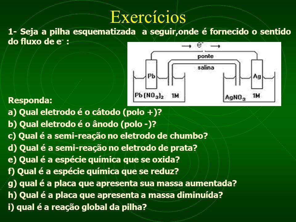 Exercícios 1- Seja a pilha esquematizada a seguir,onde é fornecido o sentido do fluxo de e- : Responda: