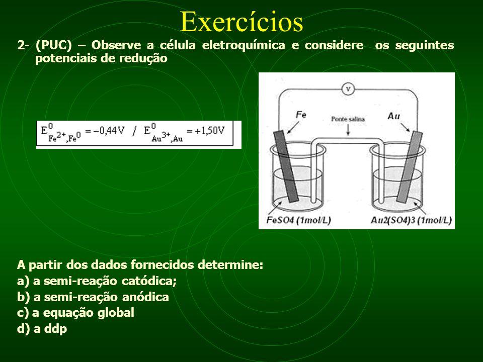 Exercícios 2- (PUC) – Observe a célula eletroquímica e considere os seguintes potenciais de redução.
