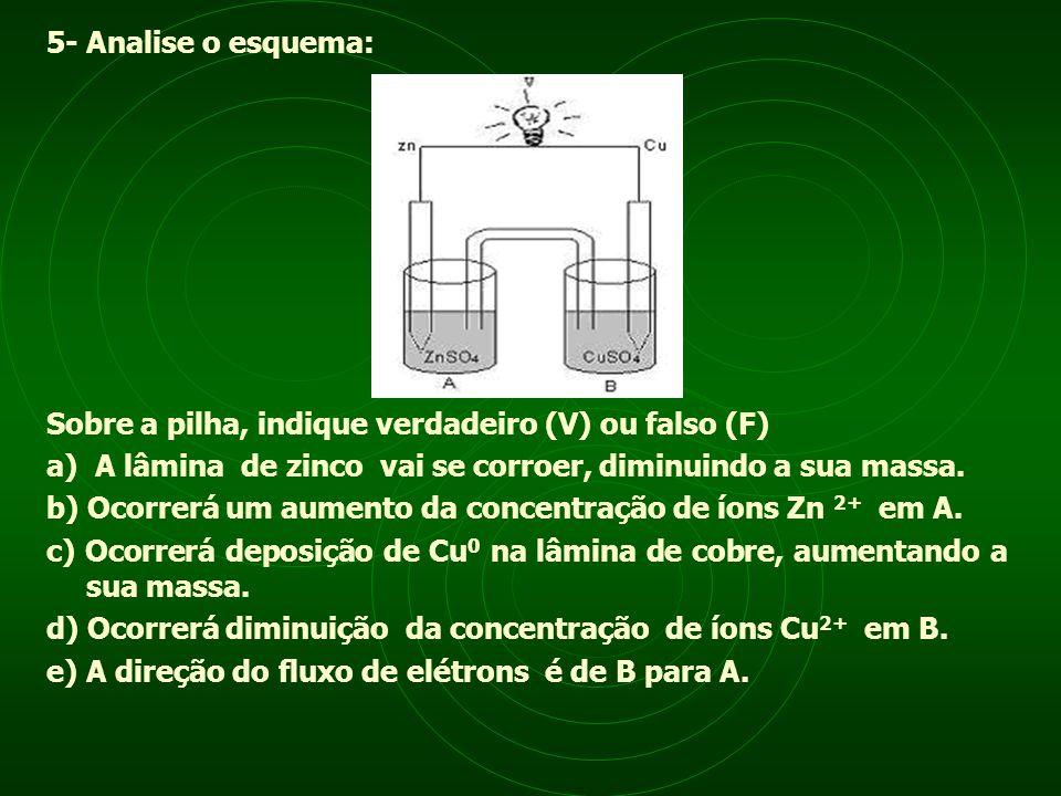 5- Analise o esquema: Sobre a pilha, indique verdadeiro (V) ou falso (F) a) A lâmina de zinco vai se corroer, diminuindo a sua massa.
