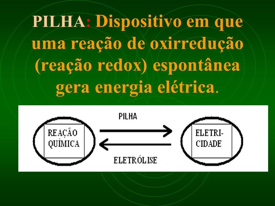 PILHA: Dispositivo em que uma reação de oxirredução (reação redox) espontânea gera energia elétrica.