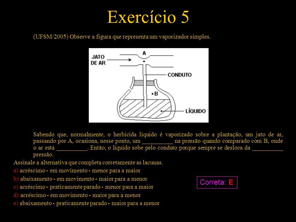 Exercício 5 (UFSM/2005) Observe a figura que representa um vaporizador simples.