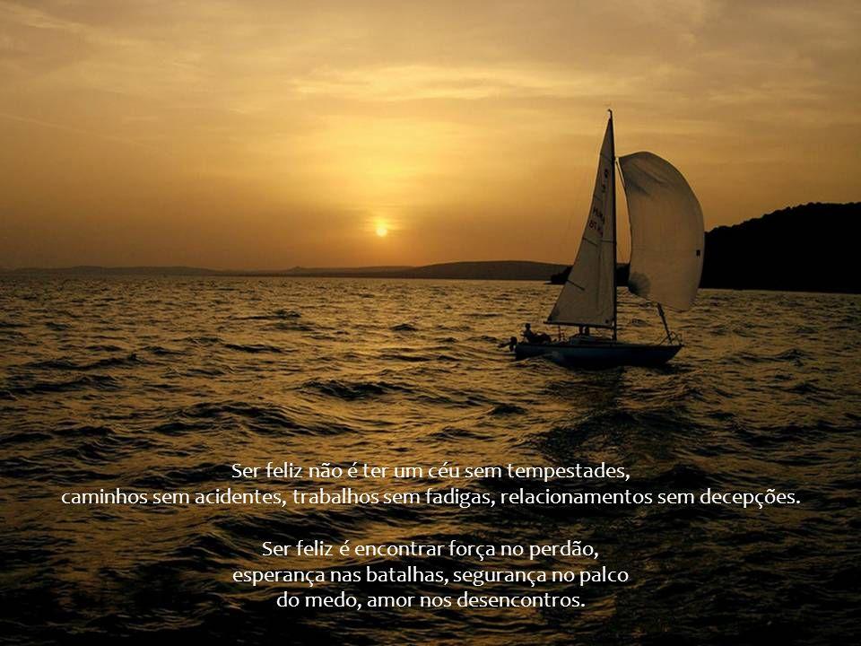 Ser feliz não é ter um céu sem tempestades, caminhos sem acidentes, trabalhos sem fadigas, relacionamentos sem decepções.