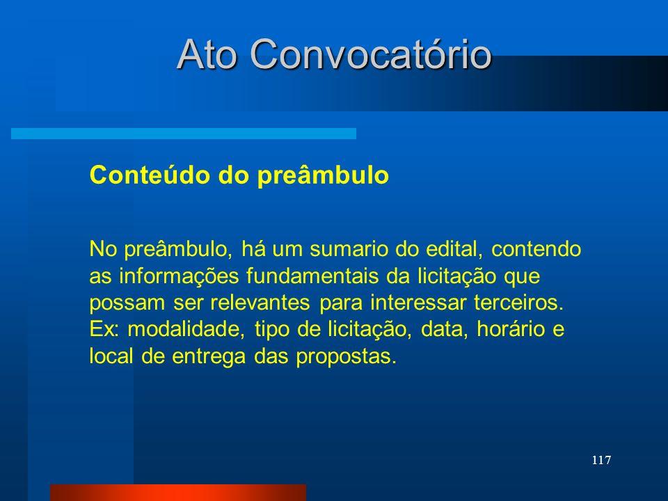Ato Convocatório Conteúdo do preâmbulo
