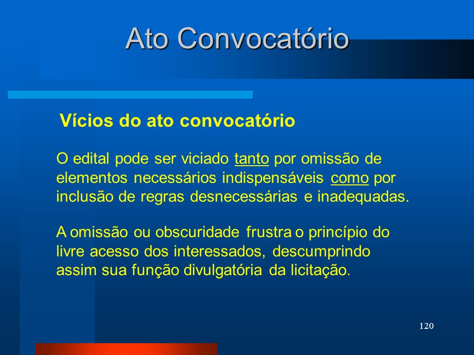 Ato Convocatório Vícios do ato convocatório