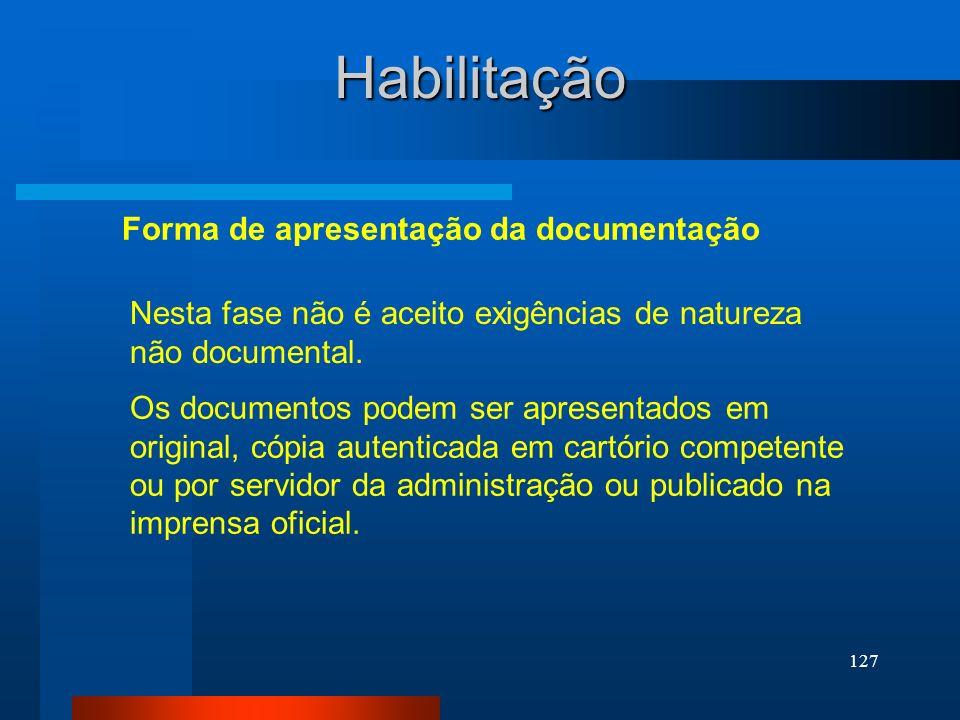 Habilitação Forma de apresentação da documentação