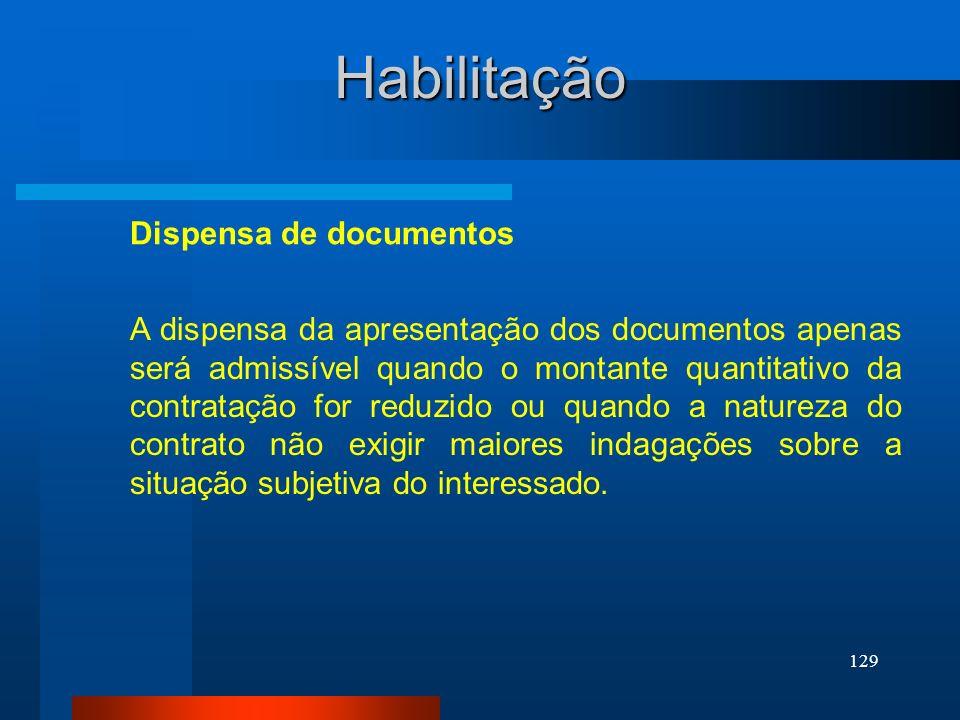 Habilitação Dispensa de documentos