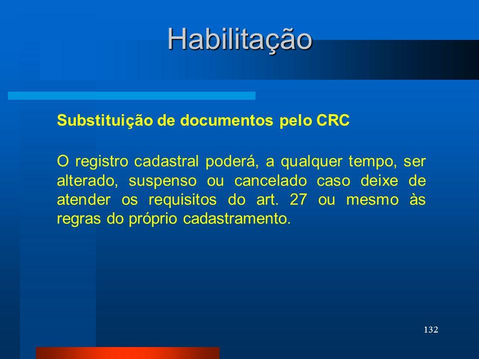 Habilitação Substituição de documentos pelo CRC