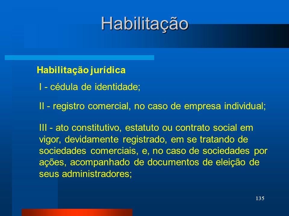 Habilitação Habilitação jurídica I - cédula de identidade;