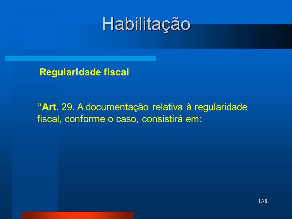 Habilitação Regularidade fiscal