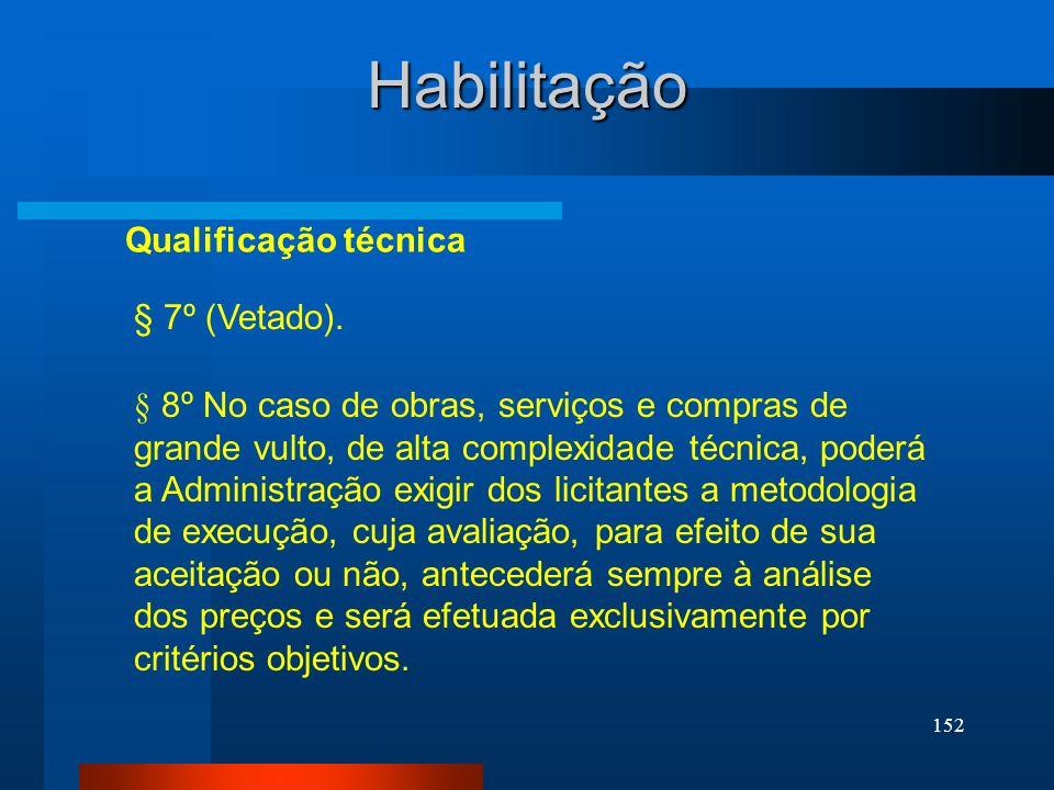 Habilitação Qualificação técnica § 7º (Vetado).