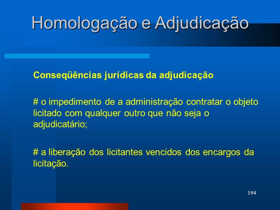 Homologação e Adjudicação