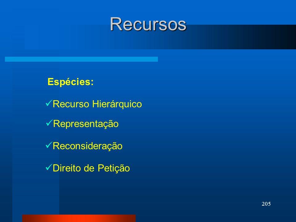 Recursos Espécies: Recurso Hierárquico Representação Reconsideração