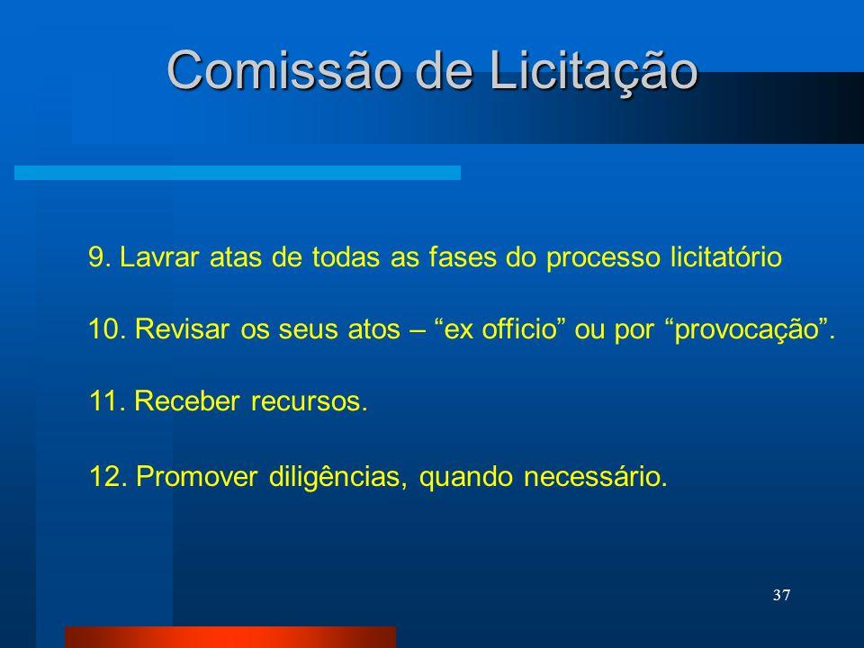 Comissão de Licitação 9. Lavrar atas de todas as fases do processo licitatório. 10. Revisar os seus atos – ex officio ou por provocação .