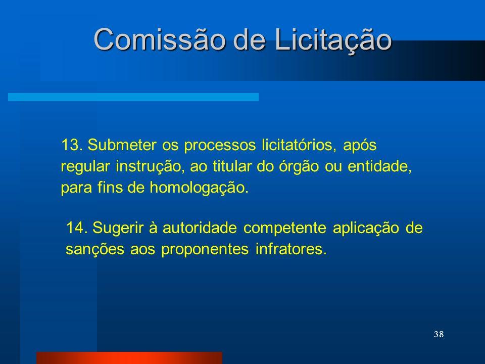 Comissão de Licitação 13. Submeter os processos licitatórios, após regular instrução, ao titular do órgão ou entidade, para fins de homologação.