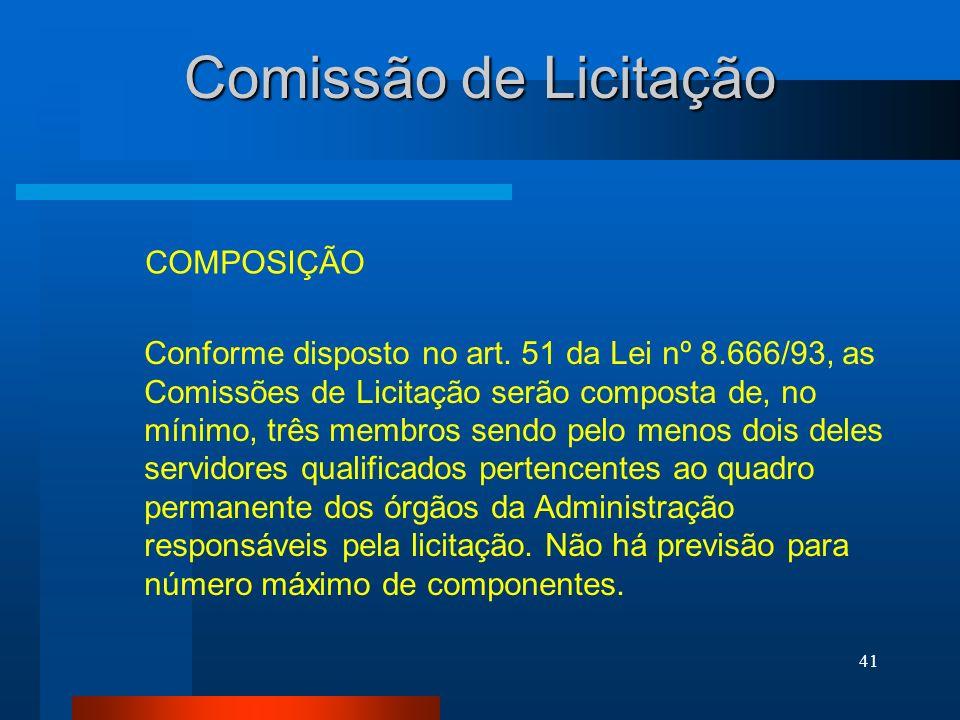 Comissão de Licitação COMPOSIÇÃO