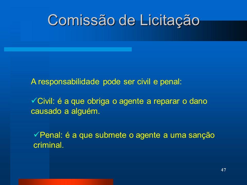 Comissão de Licitação A responsabilidade pode ser civil e penal: