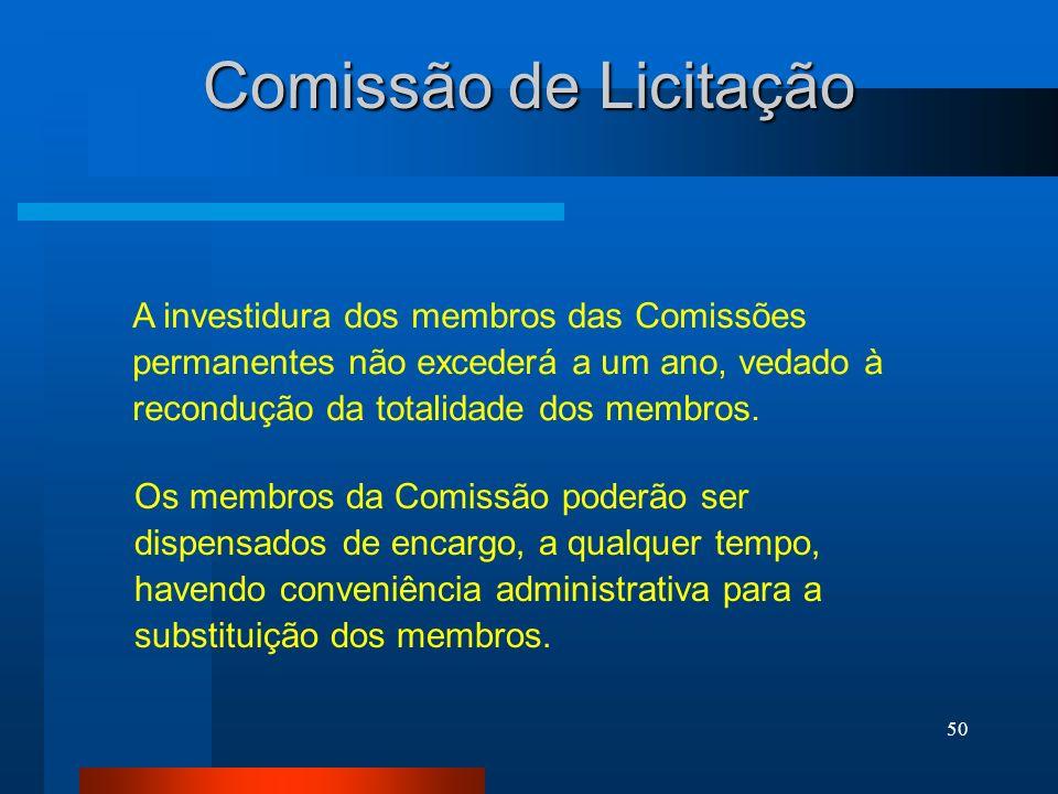 Comissão de Licitação A investidura dos membros das Comissões permanentes não excederá a um ano, vedado à recondução da totalidade dos membros.