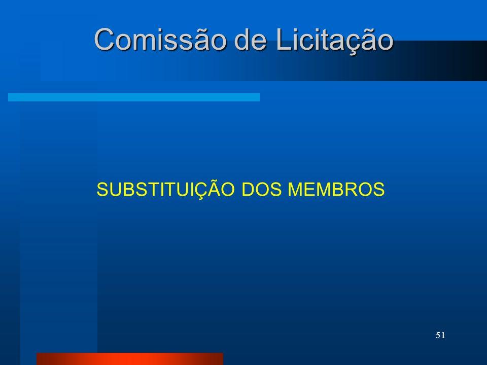Comissão de Licitação SUBSTITUIÇÃO DOS MEMBROS