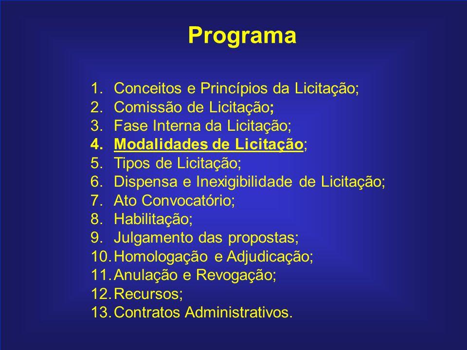 Programa Conceitos e Princípios da Licitação; Comissão de Licitação;