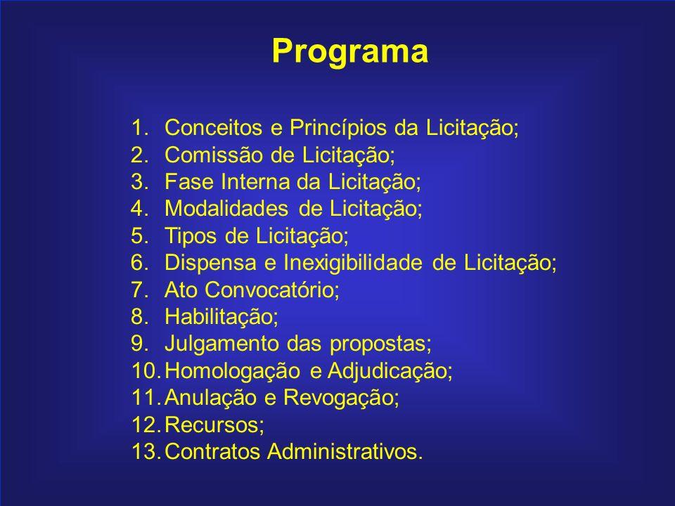Índice Programa Conceitos e Princípios da Licitação;